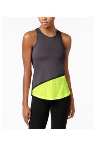 Ideology Colorblocked Tank Top Deep Charcoal