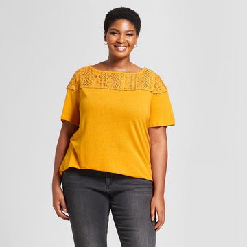 Women's Plus Size Short Sleeve Embellished T-Shirt - Ava & Viv