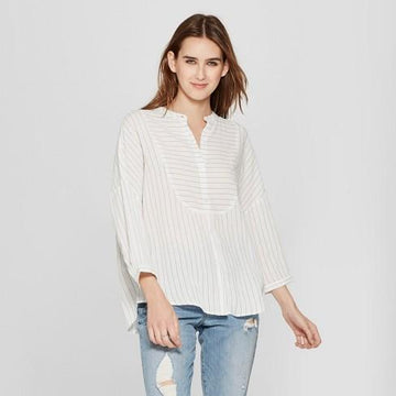 Women's Striped 3/4 Sleeve Collarless Button-Up - Mossimo