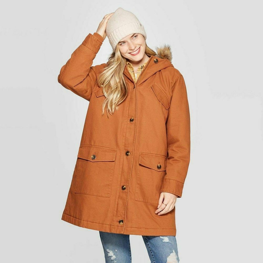 Womens Universal Thread Twill Parka Long Sleeve Coat