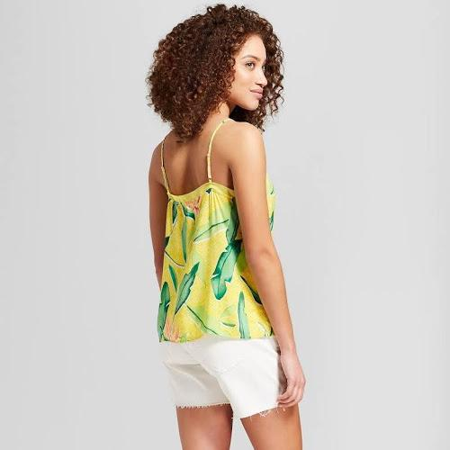 Women's Printed Chiffon Trim Cami Top