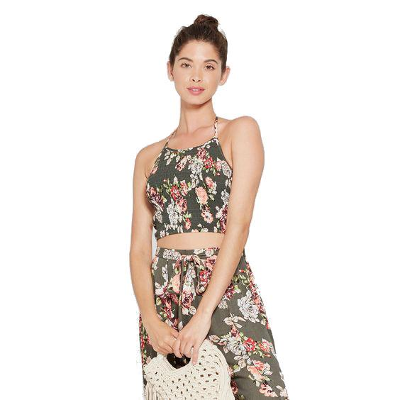 Women's Floral Halter Smocked Crop Top - Xhilaration