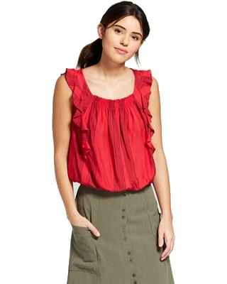 Women's Printed Ruffle Blouse - Universal Thread