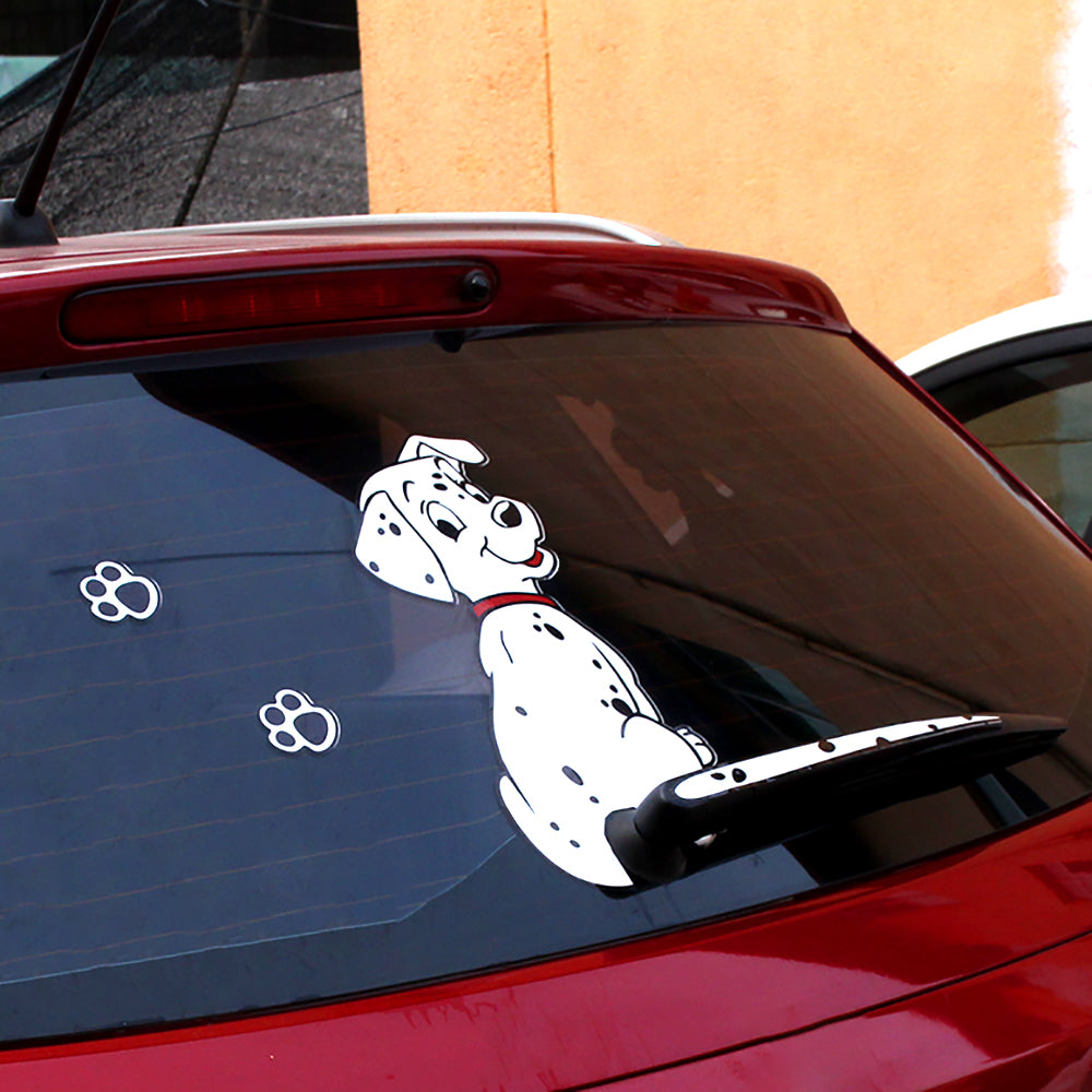 Lovely sticker dog moving for car window wiper decals