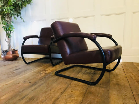 Mid Century Bauhaus leather club chairs