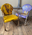Stunning pair of steel mid century Shell chairs original paint