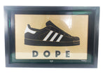 Adidas 'Dope' vinyl on glass by Curly mark 1/1 black/gold
