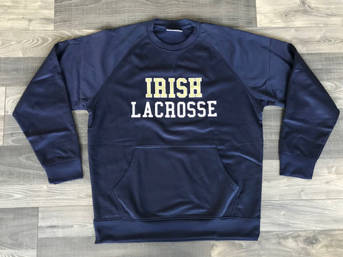 Irish Lacrosse Wicking Performance Tech Crew Sweatshirt with Front Pouch Pocket