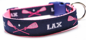 Lacrosse Sticks Dog Collar - Preppy Navy/Pink