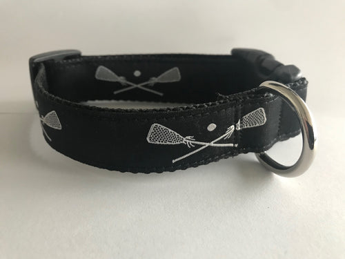 Black/White Lacrosse Dog Collar