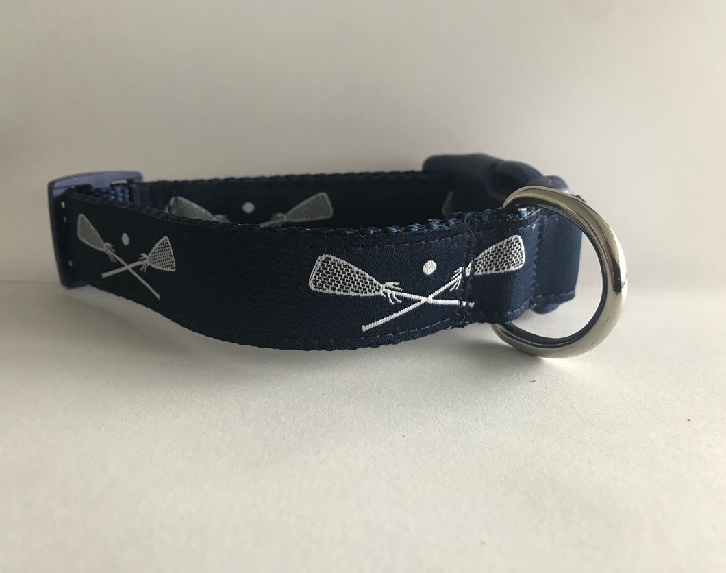 Navy/white Lacrosse Dog Collar