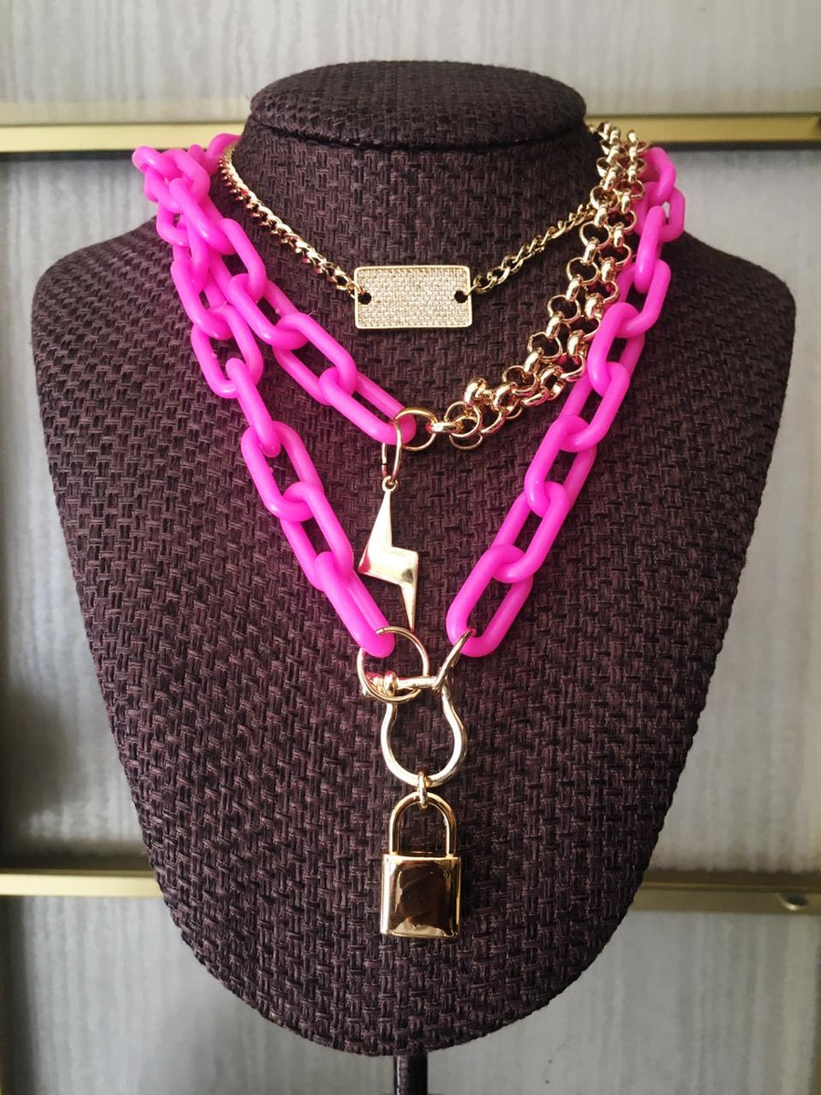 PINK CHAIN WITH CHARMS