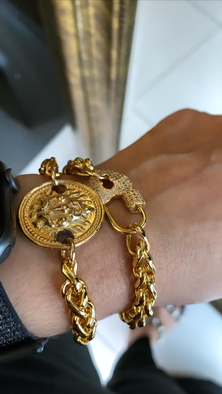 Gold Medallion Bracelt