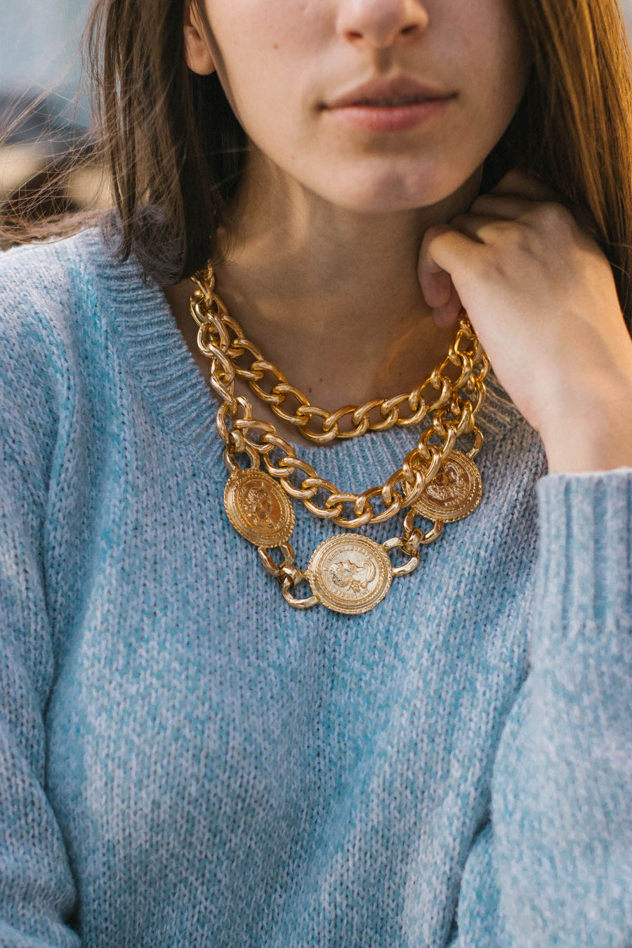 Golden Chain & coin Necklace