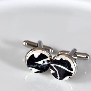 Broken China Silver Plated Cuff Links - Black and White