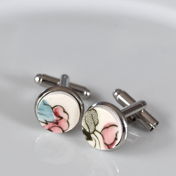 Broken China Silver Plated Cuff Links - Red and Blue