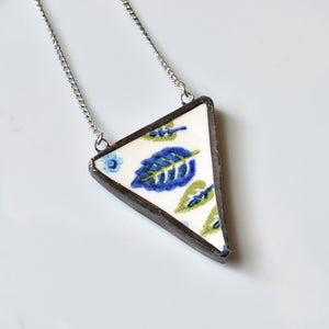 Broken China Jewelry Pendant - Swiss Chalet Triangle