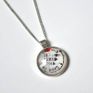 Recycled Vintage Postcard Necklace - Hong Kong
