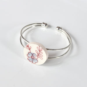 Recycled China Cuff Bracelet - Pink and Blue