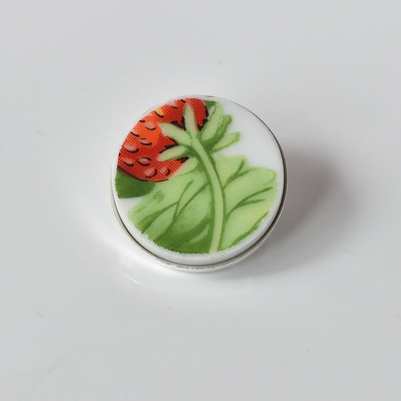 Recycled China Simple Circle Brooch - Strawberry - Scarf Pin
