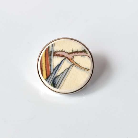 Recycled China Simple Circle Brooch - Feathers and Branch - Scarf Pin