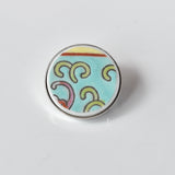 Recycled China Simple Circle Brooch - Turquoise - Scarf Pin