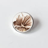 Recycled China Simple Circle Brooch - Brown Flower - Scarf Pin
