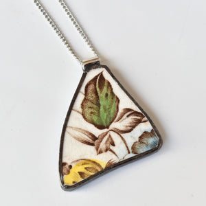 Broken China Jewelry Pendant - Green Leaf Brown Transferware