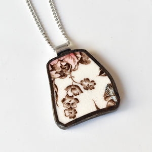 Broken China Jewelry Pendant - Brown Transferware