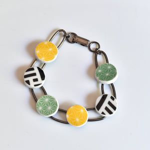 China Link Bracelet - Multicolor Pattern Bowls - Yellow Green Black