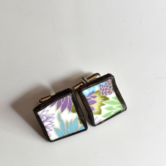 Broken China Jewelry Cuff Link - Anthro Floral