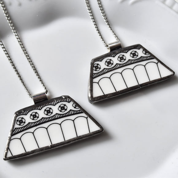 Copy of You ComPlate Me Matching Broken Plate Friendship Necklaces - Black and White - Recycled China