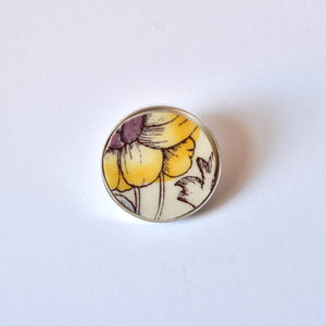 Recycled China Simple Circle Brooch - Yellow and Purple Flower - Scarf Pin