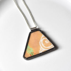 Broken China Jewelry Pendant - Orange and White