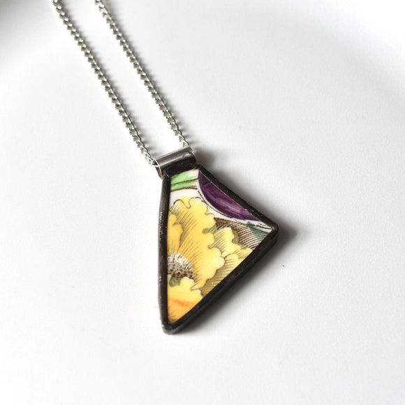 Broken China Jewelry Pendant - Yellow Green and Purple Garden Bouquet