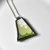 Broken China Jewelry Pendant - Green and White Modern