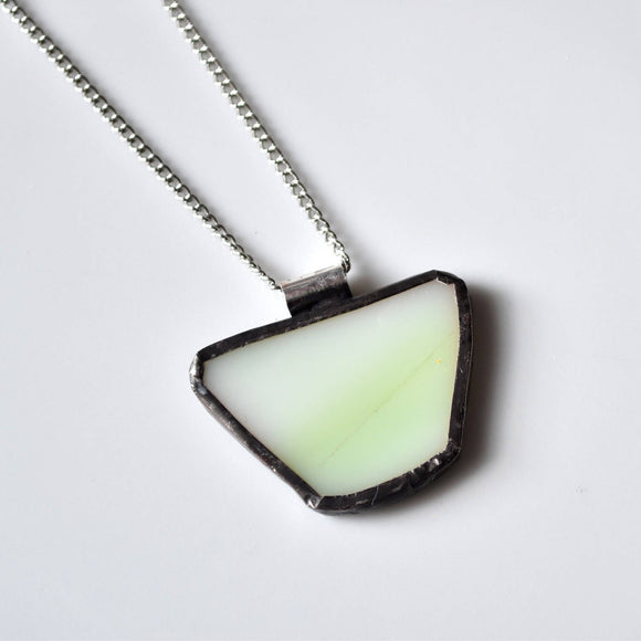 Recycled Stained Glass Jewelry Pendant - Green
