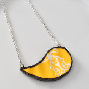 Broken China Jewelry Paisley Necklace - Yellow and White