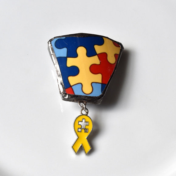Broken China Jewelry Brooch - Puzzle Necklace - Autism - For Charity