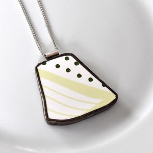 Broken China Jewelry Pendant - Green Modern Ikea