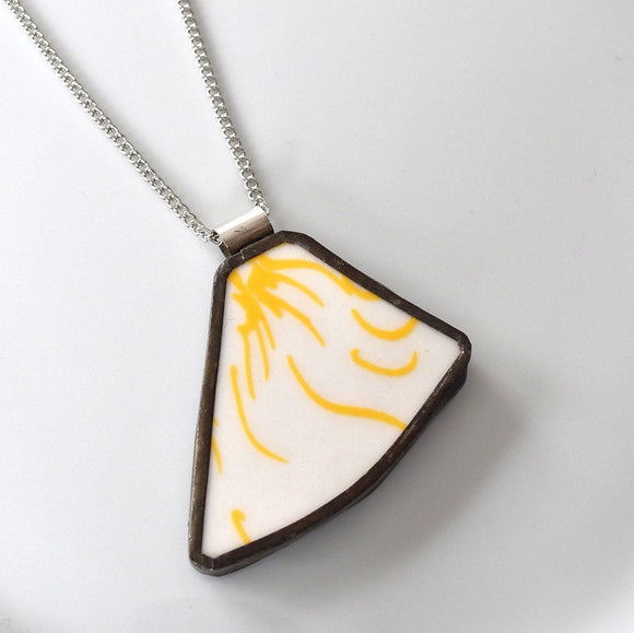 Broken China Jewelry Pendant - Yellow and White