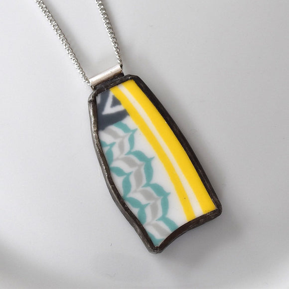 Broken China Jewelry Pendant - Yellow Teal and Grey Modern