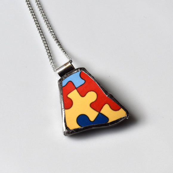 Broken China Jewelry Pendant - Puzzle Necklace