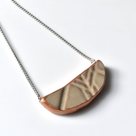 Modern Broken China Jewelry Necklace  - Taupe Stoneware with Gold Edge