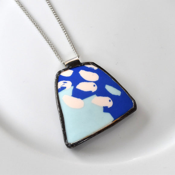 Broken China Jewelry Pendant - Blue Modern