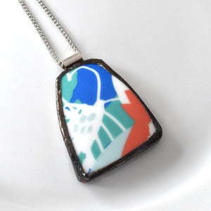 Broken China Jewelry Pendant - Blue Green Coral