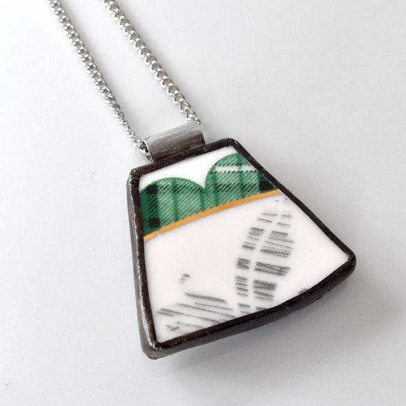 Broken China Jewelry Pendant - Green and Gold