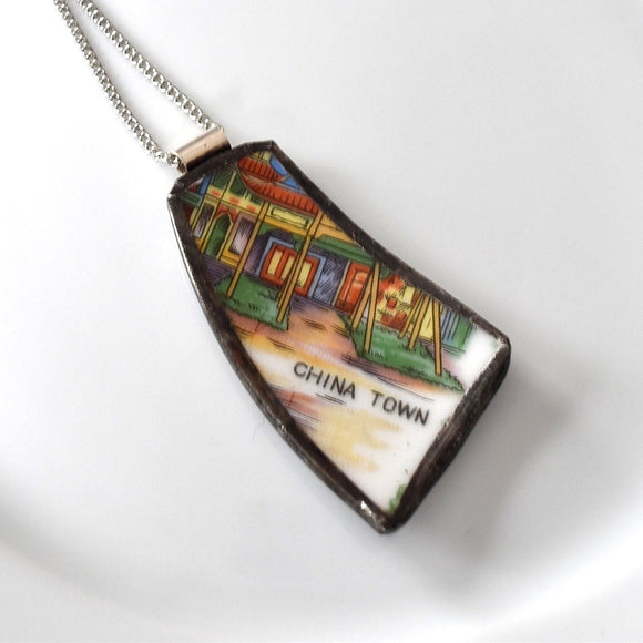 Broken China Jewelry Pendant - China Town