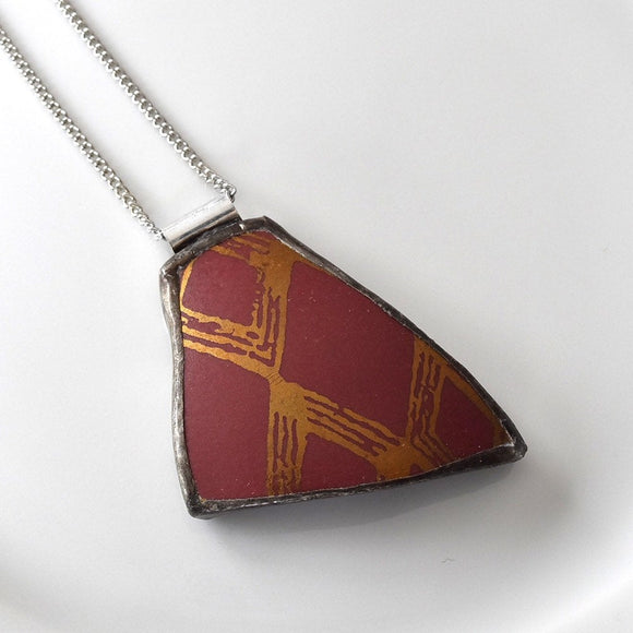 Broken China Jewelry Pendant - Red and Gold