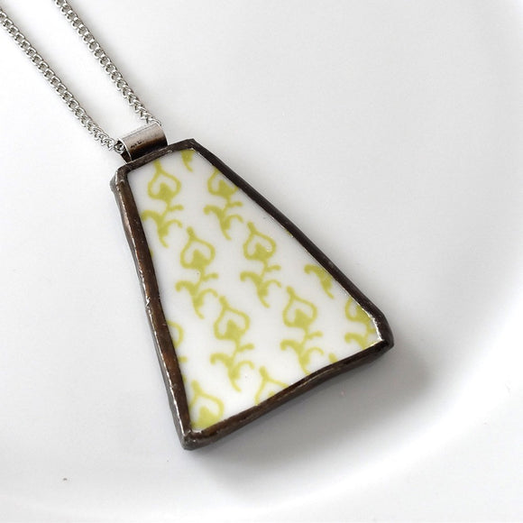 Broken China Jewelry Pendant - Green Modern